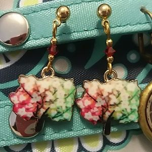 Brightly colored tree earrings